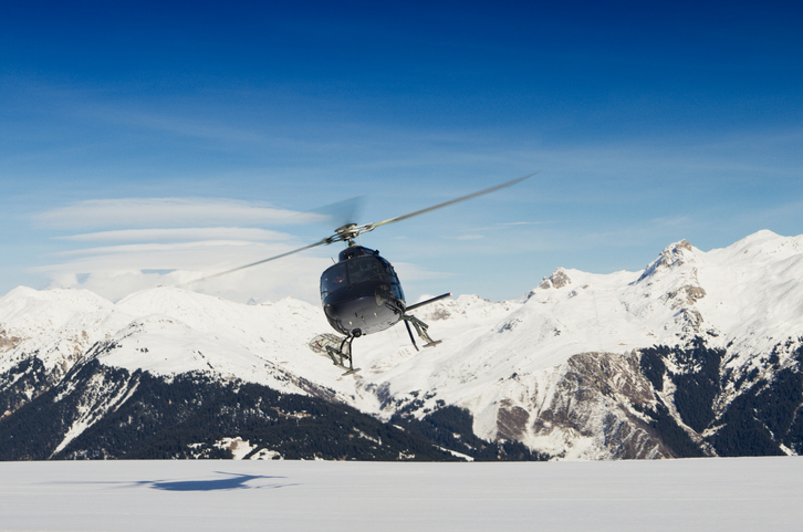 helicopter at courchevel airport